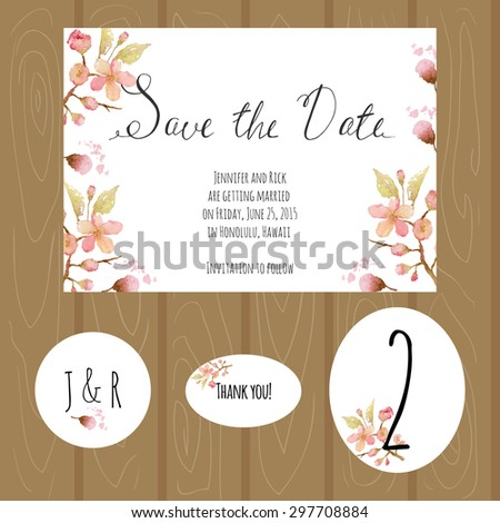 Watercolor wedding set with sakura. Save the date, sticker number for the table, thank you card.
