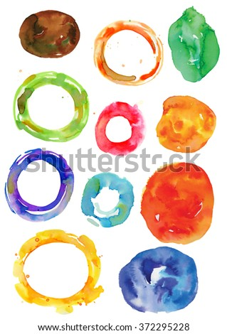 Watercolor wheels and rings, watercolor vector frames
