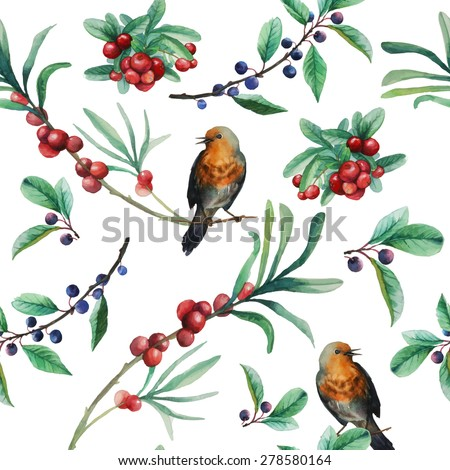 Watercolor wild berries and birds seamless pattern. Hand drawn floral texture with natural elements: cranberry, blackthorn, leaves, branches and various birds. Vector illustration - stock vector