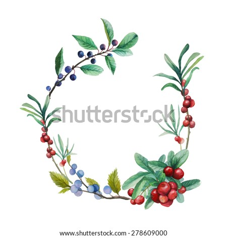 Watercolor wild berries frame. Hand drawn floral wreath with natural elements: cranberry, blackthorn, blueberry branches and leaves. Vector vintage design - stock vector