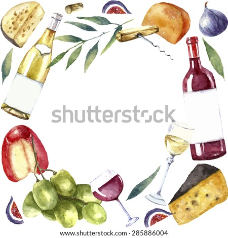 Watercolor wine and cheese frame. Round frame with hand painted food objects. Red wine bottle and glass, white wine bottle and glass, grapes, cheeses, figs and green twig. Vector background. - stock vector