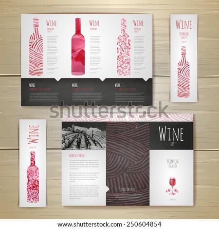 Watercolor Wine concept design. Corporate identity. Document template - stock vector