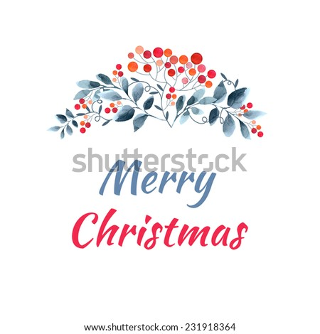 Watercolor winter background with branches rowan berry.   - stock vector