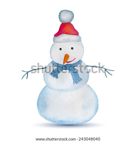 Watercolor winter card with snowman. Vector illustration - stock vector