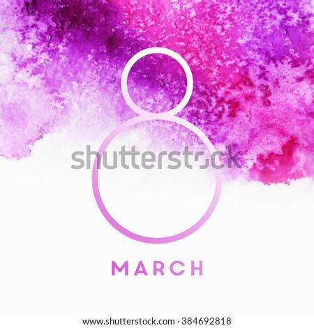 Watercolor women's day illustration - stock vector