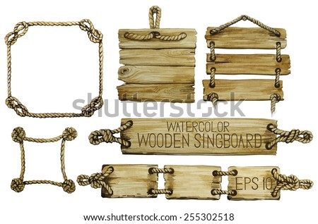Watercolor  wooden signboards hanging on a rope and rope frames. Vector set isolated on white background  - stock vector