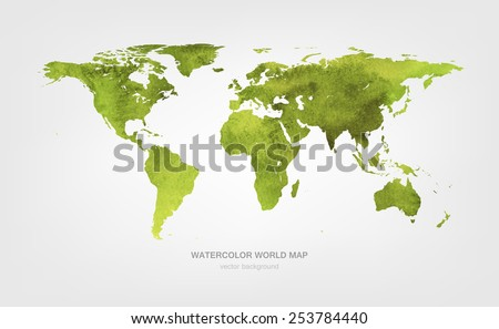 Watercolor world map - stock vector