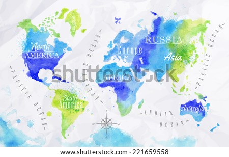 Watercolor world map in vector format in green and blue colors on a background of crumpled paper - stock vector
