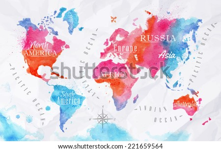 Watercolor world map in vector format in pink and blue colors on a background of crumpled paper - stock vector