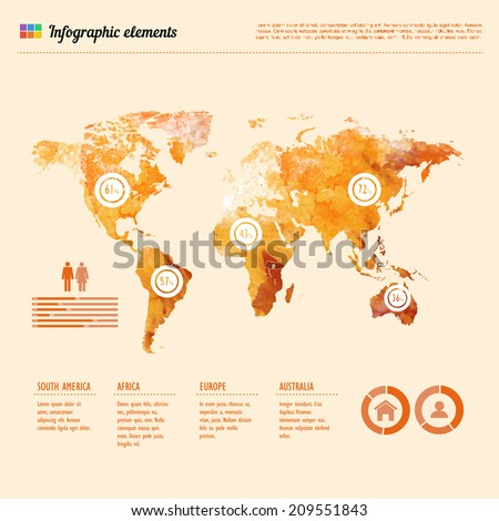 Watercolor world map infographic template showing stock vector watercolor world map infographic template showing the demographic areas with proportionate percentages of statistics and text gumiabroncs Image collections