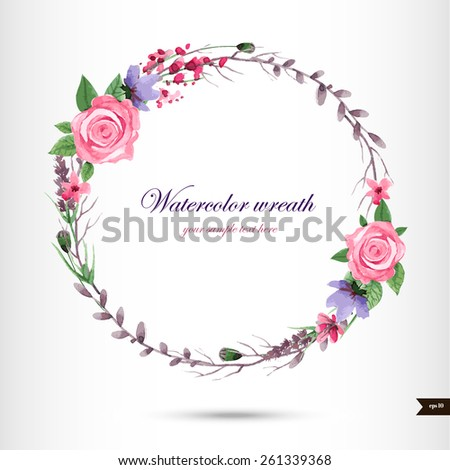 Watercolor wreath with flowers,foliage and branch.Vector illustration - stock vector