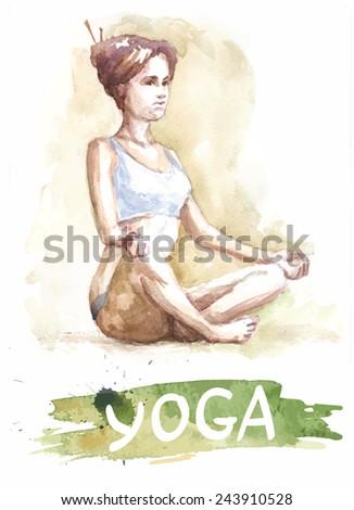 watercolor yoga girl, banner for school - stock vector