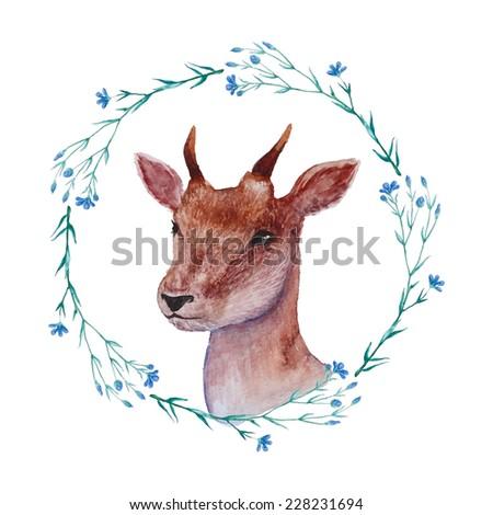 Watercolor young deer portrait in floral wreath. Vintage vector illustration - stock vector