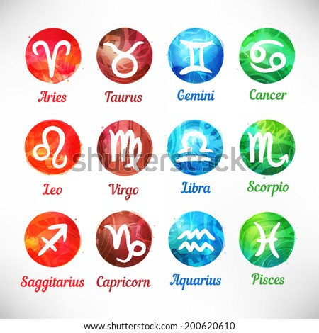Watercolor zodiac icon set, vector sign. Hand painted circle shape horoscope design elements isolated on white background. - stock vector