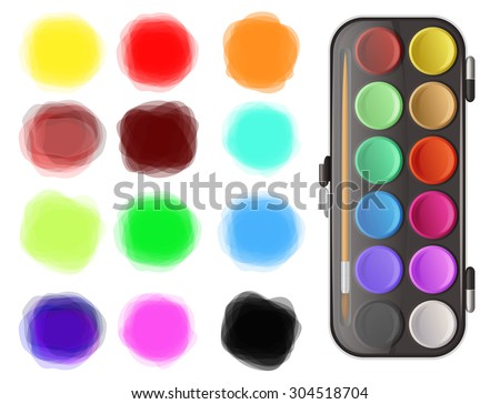 Watercolors and color splotches on white background - stock vector