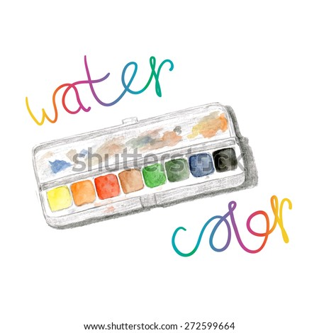 Watercolors and paintbox. Rainbow watercolor palette. Vector hand painting isolated - stock vector