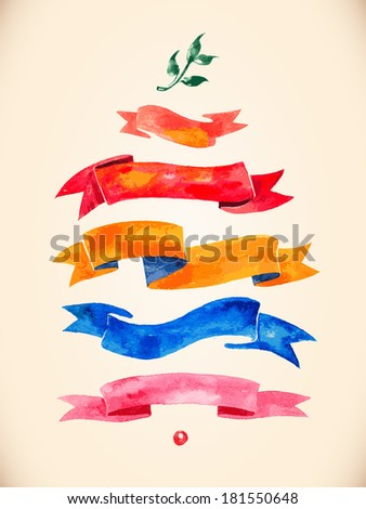 watercolors ribbons and banners for text  - stock vector