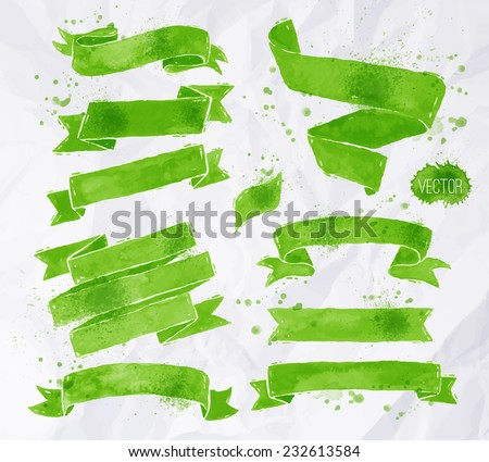 Watercolors ribbons in vector format in green colors on a background of crumpled paper - stock vector