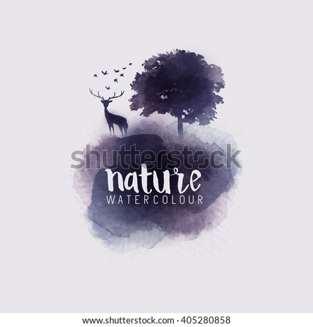 Watercolour Abstract Nature. Watercolour with a tree, stag and birds. Vector illustration. - stock vector