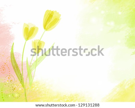 watercolour background with tulip flowers - stock vector