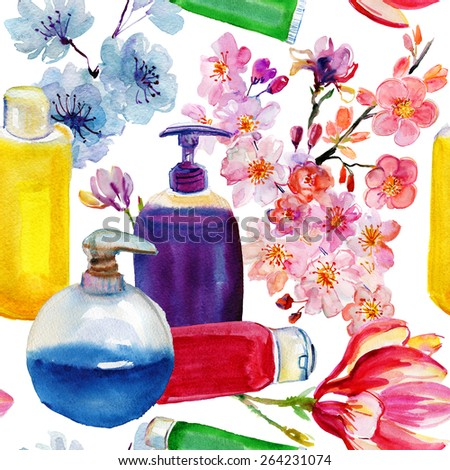 Watercolour cosmetics and flowers on white background. Vector illustration. - stock vector