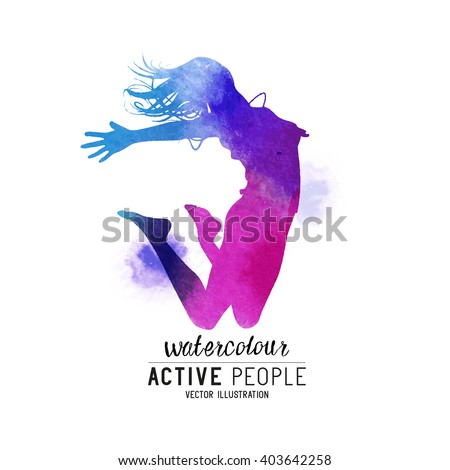 Watercolour Jumping Women Vector. A young lady jumping into the air. Vector illustration. - stock vector