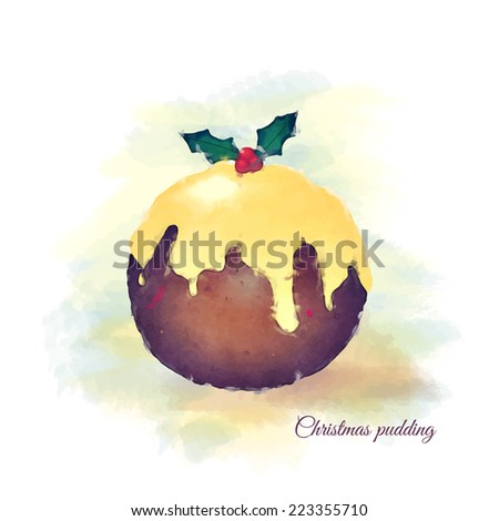 Watercolour of a Christmas pudding, topped with brandy butter and a sprig of holly. EPS10 vector format - stock vector