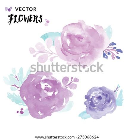 Watercolour Peony Flowers. Purple Watercolour Flowers. Purple Vector Flowers. Purple Watercolor Vector Flowers.  - stock vector