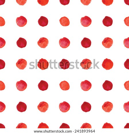 Watercolour polka dot seamless pattern. Vector illustration.
