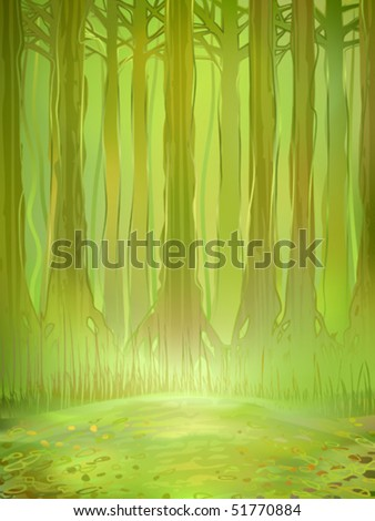 Watercolour-stylized vector of a dense green jungle forest in the background and a small sunlit clearing in the foreground (AI-optimized EPS 8 file, other landscapes are in my gallery)