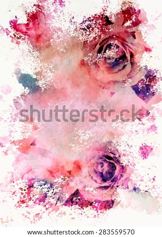 Watercolour toned roses greeting card, scalable vector graphic - stock vector