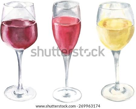 Watercolour wine set, vector drawing - stock vector