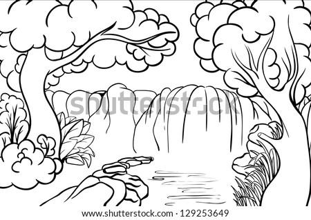Waterfall Forest Coloring Book Vector de stock (libre de regalías ...