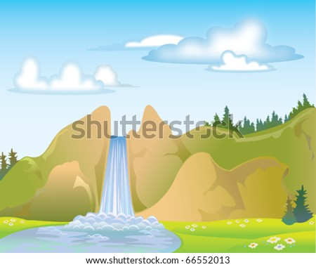 Waterfall on a blue sky and clouds - stock vector