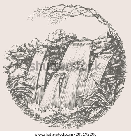 Waterfall round drawing - stock vector