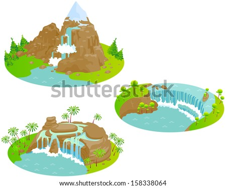 Waterfalls. Fun cartoon map elements. Elements  are in the separate layers.  - stock vector