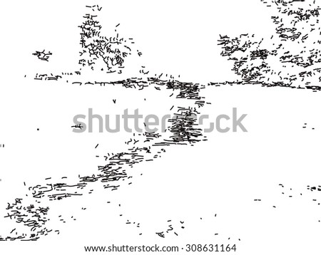 Waterfalls onto stone cliff texture line art