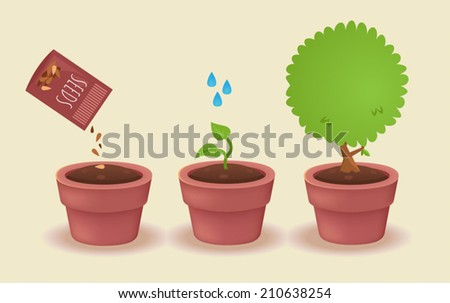 watering a plant concept - stock vector
