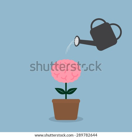 watering brain plant with watering can, creative idea concept. vector illustration - stock vector