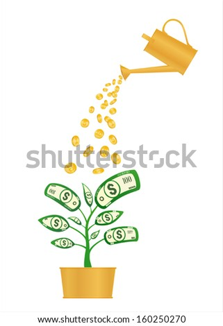 Watering can and money flower. Vector on white background - stock vector