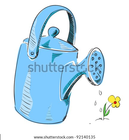 Watering can cartoon icon. Sketch fast pencil hand drawing illustration in funny doodle style - stock vector