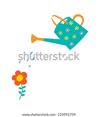 watering can gardening - stock vector