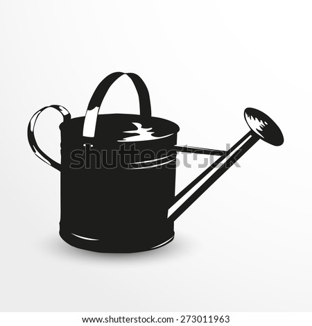 Watering can. Vector illustration. Black and white view.
