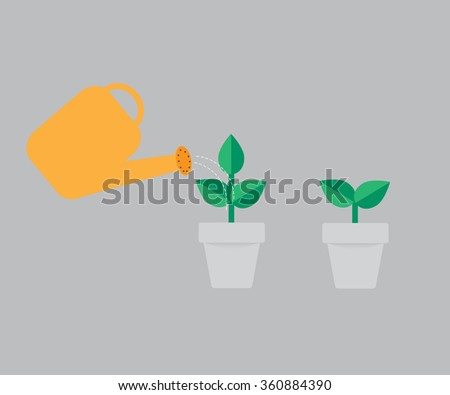 Watering can with flower vector icon. - stock vector