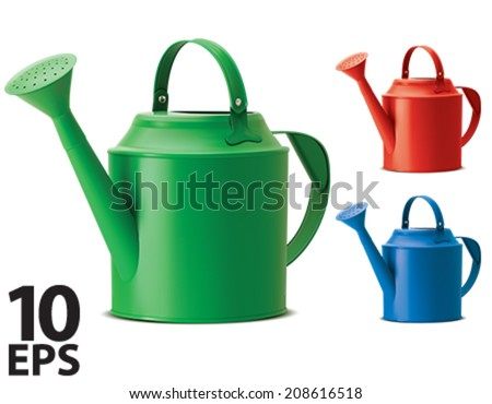 Watering cans set. Isolated. Vector illustration