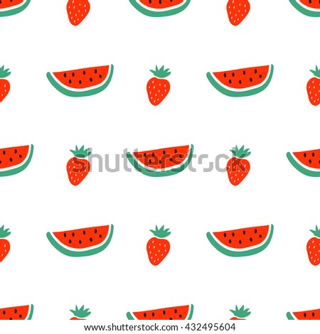 Watermelon and strawberry seamless pattern. Summer texture. Cartoon vector fruit background. - stock vector