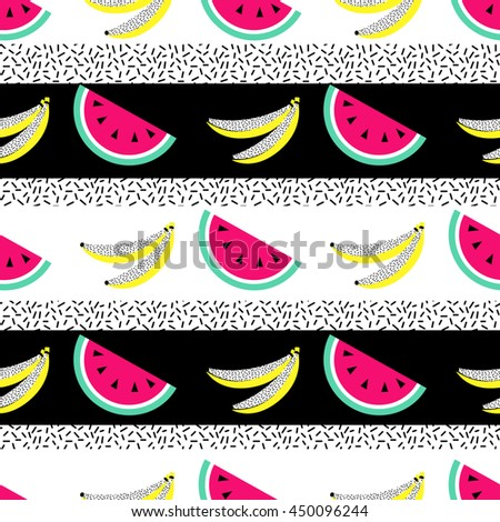 Watermelon banana seamless pattern. Geometric retro style 80s - 90s. Summer funny vivid texture with  fruits - stock vector