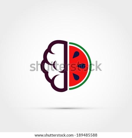 Watermelon brain icon - stock vector