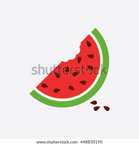Watermelon icon. Juicy ripe fruit on white background