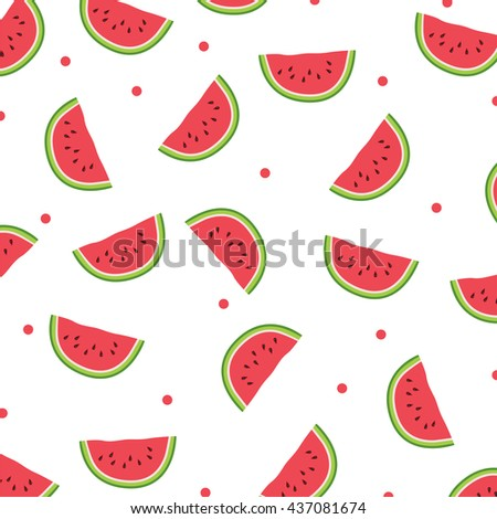 Watermelon icon.Seamless pattern. Watercolor - stock vector